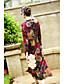Damen Lose Kleid-Lässig/Alltäglich Chinoiserie Blumen V-Ausschnitt Midi Langarm Kunstseide Andere Frühling Sommer Mittlere Hüfthöhe