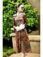 Damen Lose Kleid-Lässig/Alltäglich Chinoiserie Blumen Asymmetrisch Midi Langarm Kunstseide Andere Frühling Sommer Mittlere Hüfthöhe