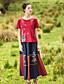 Damen Solide Stickerei Einfach Lässig/Alltäglich T-shirt,Rundhalsausschnitt Kurzarm Baumwolle Leinen