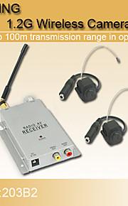 lujo de seguridad inalámbrica de 1.2GHz CCTV CMOS color de vídeo y el receptor av