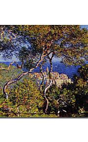 hand-painted pintura a óleo bordighera por Claude Monet com moldura esticado