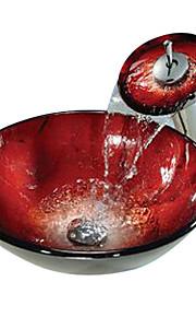 rosso tondo temperato vaso di vetro con lavello rubinetto cascata, anello di montaggio e di scarico dell'acqua (0888-c-Bly-6.439-wf)