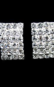 glanzende steentjes met zilver / legering bruids oorbellen