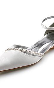 topkwaliteit satijn bovenste lage hak sandalen met strass huwelijk bruids schoenen