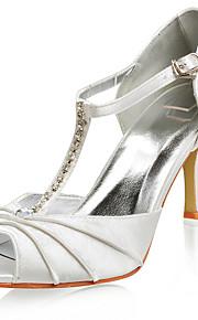 topkwaliteit satijn bovenste hoge hakken peep-tenen met strass mode schoenen