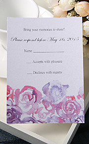 Personalize Wedding Response Cards - Purple Roses (Set of 50)