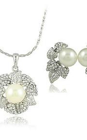 mooie bladeren ontwerp strass twee stukken van vrouwen parel sieraden set (50 cm)