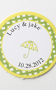 Personalized Round Favor Stickers – Umbrella (Set of 36)