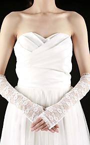 superbe moitié dentelle coude doigt la longueur avec des gants de mariée de broderie (plus de couleurs)