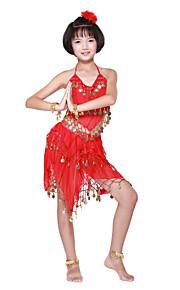dancewear chiffon met munten / beading prestaties buikdans outfit voor kinderen meer kleuren