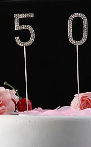 cake toppers glanzende steentjes nunmer cake topper (stok lengte 12cm)