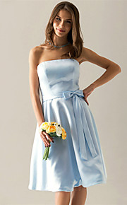 klaring! a-lijn strapless knie-lengte satijn bruidsmeisje / wedding party dress