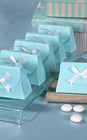 boîte bleue en forme de sac à main faveur - Pack de 12