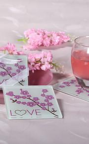 cerise fleur en verre coasters amour (jeu de 2)