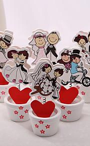 Cartes et cache couple heureux détenteurs de placecard place - set de 6 (conception mixte)
