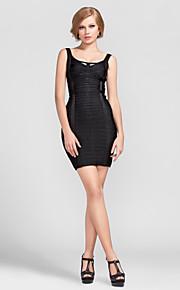 Cocktail Party Dress - Black Petite Sheath/Column Scoop Short/Mini Rayon