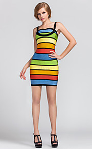 Cocktail Party Dress - Multi-color Petite/Apple/Hourglass/Inverted Triangle/Pear/Rectangle/Misses Sheath/Column Straps Short/Mini Rayon