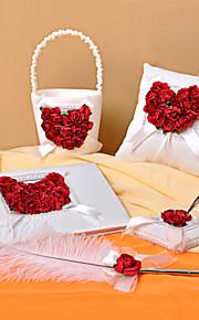 collection de mariage mis en satin avec des pétales de rose (5 pièces)