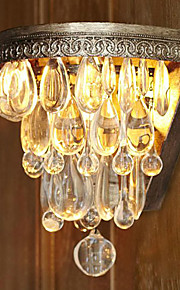 60W Kunstnerisk Crystal Beaded Wall Light med Elegant Metal lys base