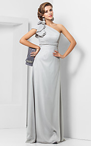 Formal Evening / Military Ball Dress - Elegant Plus Size / Petite Sheath / Column One Shoulder Floor-length Chiffon withFlower(s) /