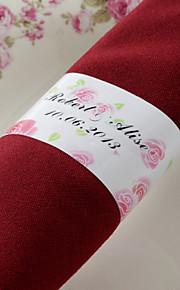 Personnalisé Rond de Serviette Papier - Pink Rose (Lot de 50)