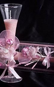 Thème floral Bougie Pour Invitée Pièce / Set Bougies Bougeoir Rose