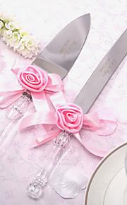 Serving Sets Wedding Cake Knife Personalized Satin Rose Cake Knife And Server Set
