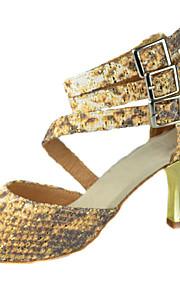 Customizable Women's Dance Shoes Latin/Ballroom Fabric Customized Heel Gold