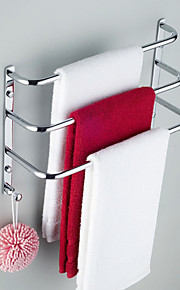 chrome contemporaneo finire tre asciugamano bar rack con ganci, senza vite