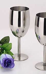 Silver Stainless Steel Champagne Flutes-Set of 2