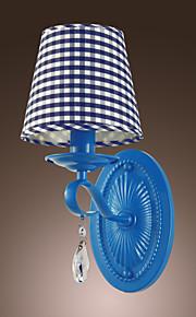 60w lumière moderne mur de cristal avec abat-jour en tissu en damier bleu
