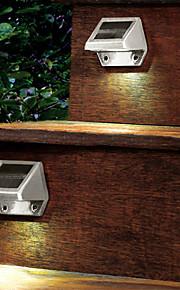 Outdoor Solar 4-LED White Light LED Powered Wall Stairway Yard Garden Fence Spot Light Lamp