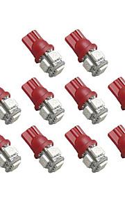 2825 T10 5-Smd Rød Led Billygter Pære (10 Stk.)