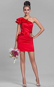 Short/Mini Satin Bridesmaid Dress-Plus Size / Petite Sheath/Column One Shoulder