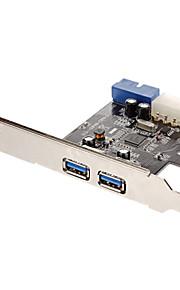 Utvide med to USB 3.0 nedstrøms porter og en USB 3.0 20-pinners kontakt med 4-pins IDE POEWER Connector (NEC720201) Low Profile Bracket