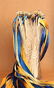 Royal Blue&Gold Wedding Ribbon Wand--(Set of 10)