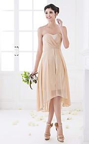Homecoming Asymmetrical Chiffon Bridesmaid Dress - Champagne Plus Sizes A-line Sweetheart