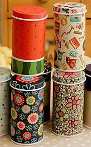 Cylindrical Cartoon Tin Box Desktop Storage Box(Random Color)