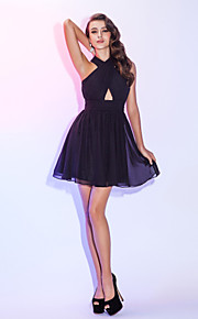 Homecoming Cocktail Party/Homecoming/Holiday Dress - Black Plus Sizes A-line Halter Short/Mini Chiffon