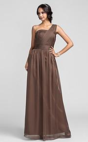 Lanting Floor-length Chiffon Bridesmaid Dress - Brown Plus Sizes / Petite Sheath/Column One Shoulder