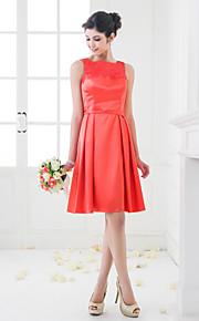 Lanting Knee-length Stretch Satin Bridesmaid Dress - Watermelon Plus Sizes / Petite A-line / Princess Square