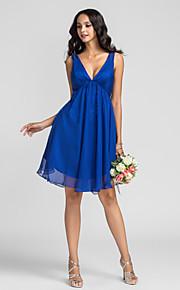 Bridesmaid Dress Knee Length Chiffon A Line V Neck Dress (722117)
