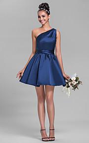 Short/Mini Satin Bridesmaid Dress-Plus Size / Petite A-line One Shoulder