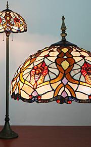 플로어 램프, 2 개의 빛, 티파니 특성 수지 유리 회화 과정