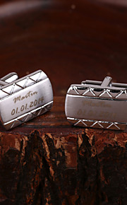 Gift Groomsman Personalized Rectange Silver Cufflinks