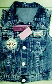 TS Denim Sexy Hollw Bow Washed Jean Top