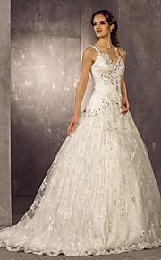 Lanting una línea pequeña / más el tamaño de vestido de novia - marfil tren de barrido / cepillo de un solo hombro de encaje / raso