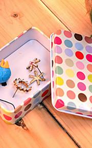 Rektangel White Ground Farverige Dot Tin Box