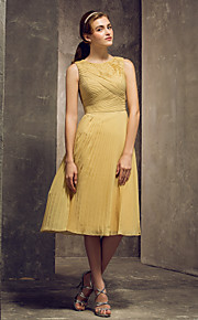 Lanting Tea-length Chiffon Bridesmaid Dress - Gold Plus Sizes / Petite Sheath/Column Jewel