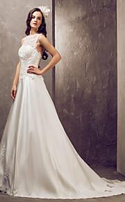 Lanting Bride® Corte en A Tallas pequeñas / Tallas Grandes Vestido de Boda - Elegante y Lujoso / Glamouroso Espalda Abierta Corte Joya